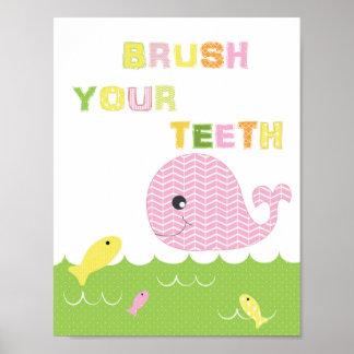 Kindermädchenbadezimmer-Kunstbürste Ihre Zähne Poster