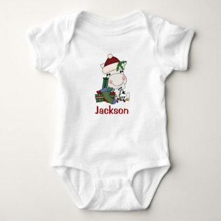 Kinderpersonalisierter WeihnachtssanktZebra Baby Strampler