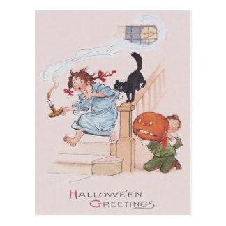 Kinderschwarze Katzen-Kürbislaterne-Vollmond Postkarte