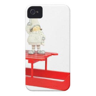 Kinderweihnachtsfigürchen auf rotem iPhone 4 Case-Mate hülle
