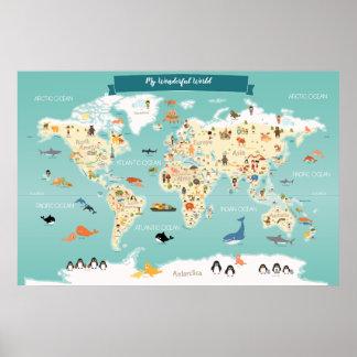 Kinderweltkarte mit Tieren und Sehenswürdigkeiten Poster