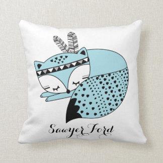 Kinderzimmer-Geschenk blaues BabyFox Stammes- Kissen