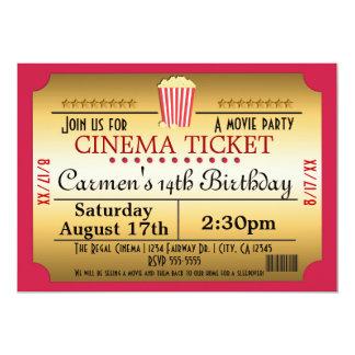 Kino-Film-Karten-Popcorn-Party-Ereignis-Einladung 12,7 X 17,8 Cm Einladungskarte