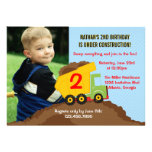 Kipper-Bau-Jungen-Geburtstags-Party-Foto Individuelle Ankündigskarten