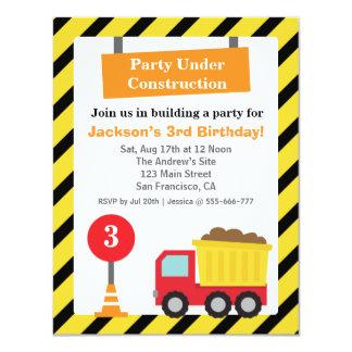 Kipper-Bau-Thema-Kindergeburtstag Party 10,8 X 14 Cm Einladungskarte