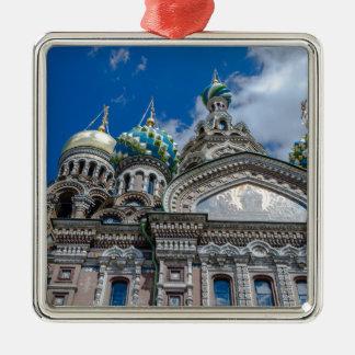 Kirche unseres Retters auf dem verschütteten Blut Quadratisches Silberfarbenes Ornament