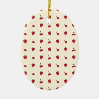 Kirsch-u. Erdbeermuster Ovales Keramik Ornament