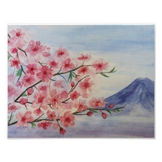 Kirschblüte-Baumblüte und Fuji-Berg Fotodruck