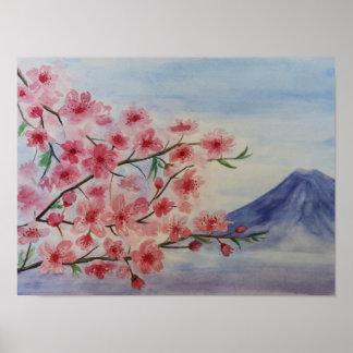 Kirschblüte-Baumblüte und Fuji-Berg Poster