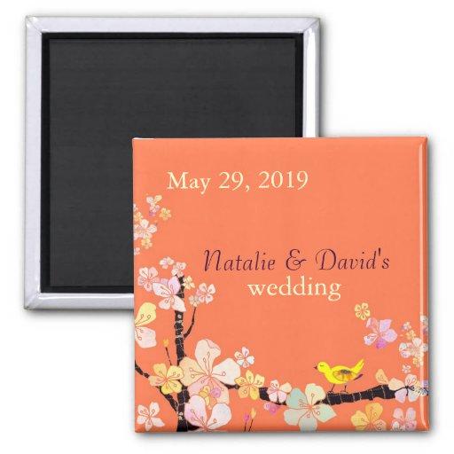 Kirschblüte-Blumen + Vogel-orange Hochzeits-Einlad Magnets