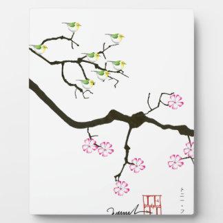Kirschblüte-Blüten mit Vögeln, tony fernandes Fotoplatte