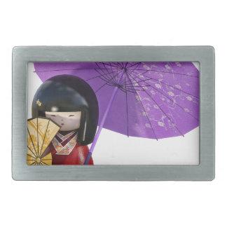 Kirschblüte-Puppe mit Regenschirm Rechteckige Gürtelschnalle