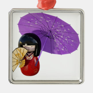 Kirschblüte-Puppe mit Regenschirm Silbernes Ornament