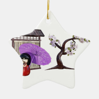Kirschblüte-Puppe mit Wand und Kirschbaum Keramik Ornament