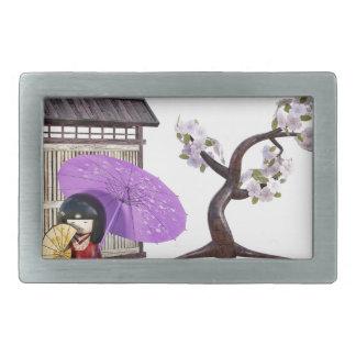 Kirschblüte-Puppe mit Wand und Kirschbaum Rechteckige Gürtelschnallen