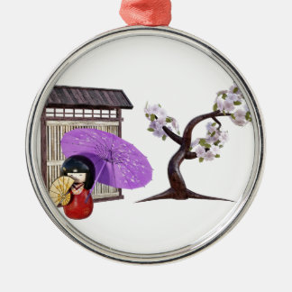 Kirschblüte-Puppe mit Wand und Kirschbaum Silbernes Ornament