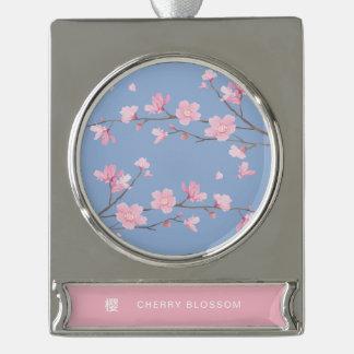 Kirschblüte - Ruhe-Blau Banner-Ornament Silber