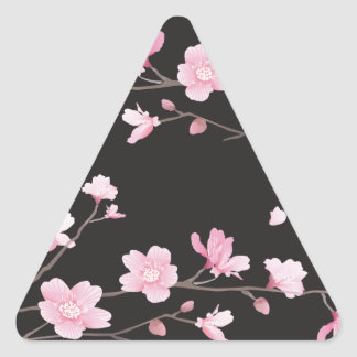 Kirschblüte - Schwarzes Dreieckiger Aufkleber