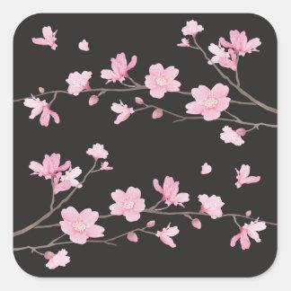 Kirschblüte - Schwarzes Quadratischer Aufkleber