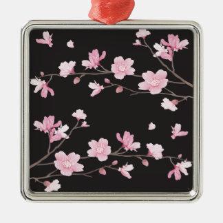Kirschblüte - Schwarzes Quadratisches Silberfarbenes Ornament