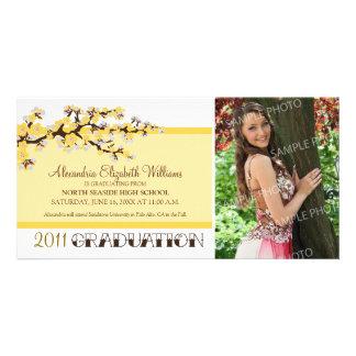 Kirschblüten-Abschluss-Mitteilung (Gelb) Individuelle Fotokarte