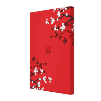 Kirschblüten-doppeltes Glück-chinesische Hochzeit Galerie Faltleinwand