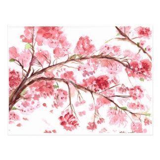 Kirschblüten-Rosa-Blumen-Blumenmalerei Postkarte
