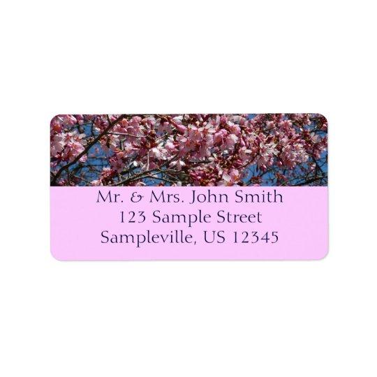 Kirschblüten und blauer Himmel-Frühling mit Blumen Adressaufkleber