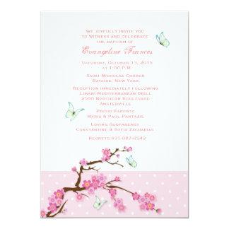 Kirschblüten-und -schmetterlings-Einladung Karte