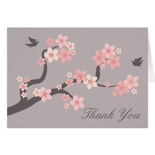 Kirschblüten zacken aus,/Grau danken Ihnen zu Mitteilungskarte