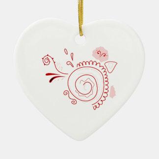 Kirschhanddrawn Hennastrauch-Rot auf Weiß Keramik Ornament