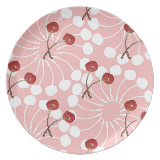 Kirschpaar-Muster (weiße Schokolade + Erdbeere) Teller