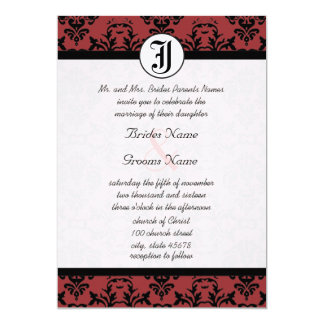 Kirschschuster-Damast-Foto-Hochzeit lädt ein 12,7 X 17,8 Cm Einladungskarte