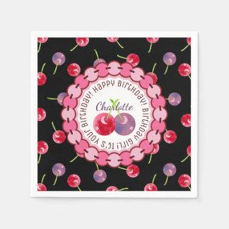 Kirschwatercolor-personalisierter Geburtstag Papierservietten