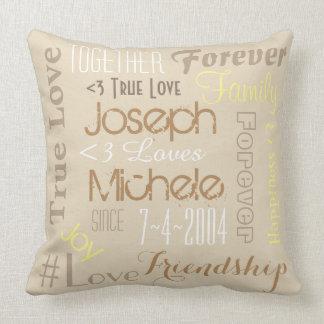 Kissen-für immer Liebe-personalisierte Namen und Kissen