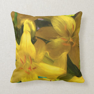 Kissen mit gemalten gelben Lilien
