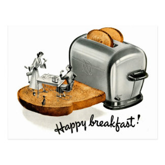 Kitsch-Vintager Frühstückstoast 'glückliches Postkarte