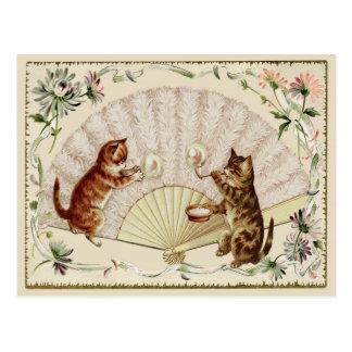 Kitty-Blasen u. Fan-Vintage Wiedergabe-Postkarte Postkarte