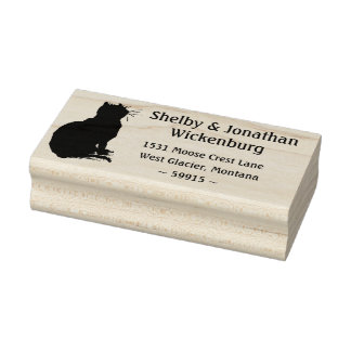 Kitty-Silhouette-Rücksendeadresse-Briefmarke Gummistempel