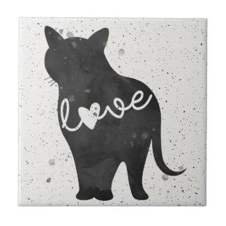 Kittykat-Liebewatercolor-Silhouette Kleine Quadratische Fliese
