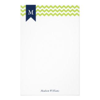 Kiwi-grüne Sparren und blaues Monogramm Briefpapier