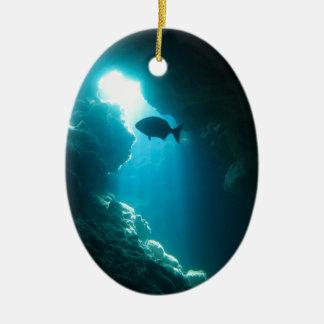 Klare blaue Höhle und Fische Ovales Keramik Ornament