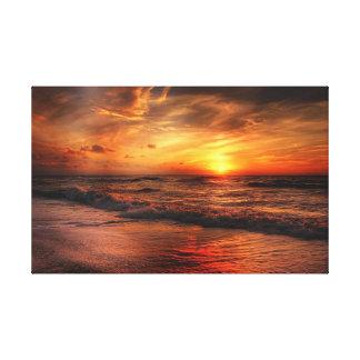 Klare orange Strand-Sonnenuntergang-Leinwand Leinwanddruck
