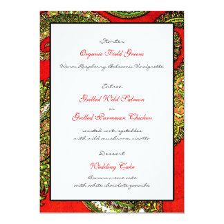Klare rote Hochzeits-Empfangs-Menü-Karte 12,7 X 17,8 Cm Einladungskarte