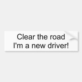 Klären Sie die Straße, die ich ein neuer Fahrer Autoaufkleber