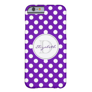 Klarer lila Polka-Punkt mit Monogramm iPhone 6 Barely There iPhone 6 Hülle