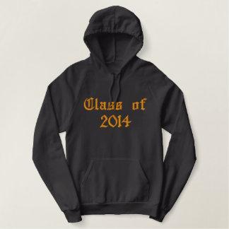 Klasse von - Orange und Schwarzes Bestickter Hoodie