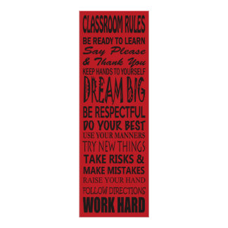 """Klassenzimmer ordnet das Plakat (rot), 12"""" x 6"""" an"""