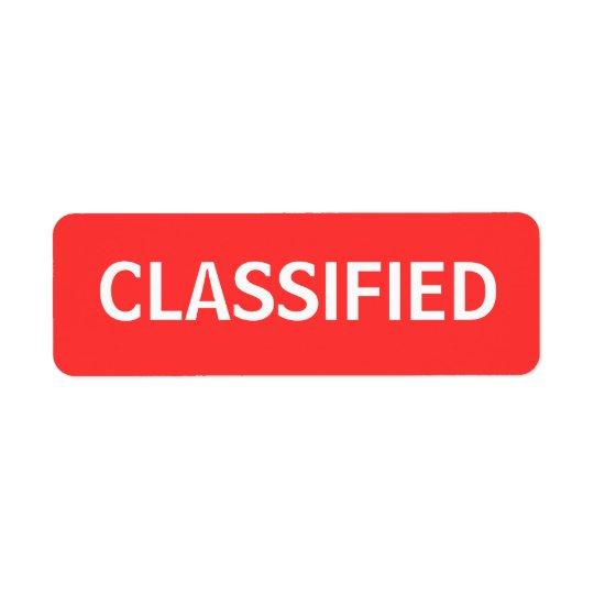klassifiziert Rückversand-Adressaufkleber