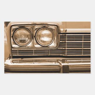 Klassische Auto-Scheinwerfer-Nahaufnahme Rechteckiger Aufkleber